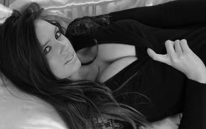 looking at viewer, big boobs, dark hair, Louisa Marie, boobs, black dress
