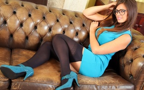 Louisa Marie, stockings, girl with glasses, black stockings