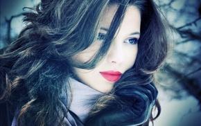 smooth skin, face, wavy hair, model, soft shading, juicy lips