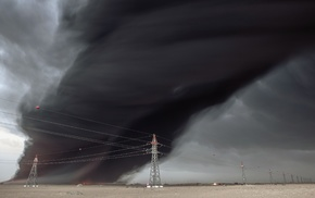 landscape, gray, power lines, desert, smoke, fire