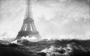 apocalyptic, Eiffel Tower, flood, digital art