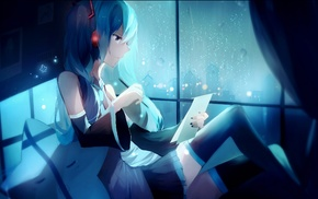 anime girls, headphones, skirt, Hatsune Miku, crying, long hair