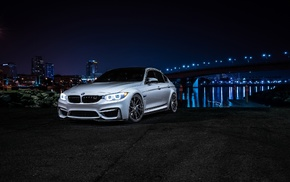 BMW, car, night