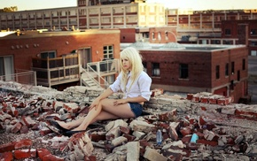 blonde, girl outdoors, shorts, bricks, legs, jean shorts