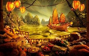 fruit, trees, clouds, vegetables, food, digital art