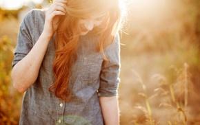 sunlight, smooth skin, grass, Danielle, bokeh, emotions