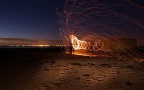 in, line, light painting, night, lights, circle