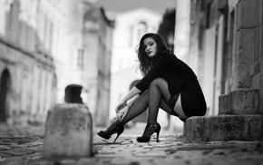monochrome, girl outdoors, cobblestone, girl, stairs, legs