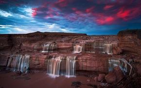 clouds, nature, erosion, Arizona, waterfall, landscape
