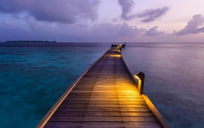 Maldives, clouds, sea, sunset, dock, nature