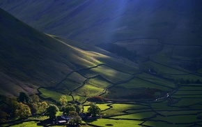 nature, mountain, farm, green, sun rays, morning