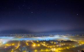 urban, landscape, cityscape, mist, lights, nature
