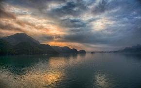 sea, hill, nature, Vietnam, sunrise, mist