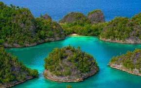 beach, blue, sea, green, tropical, landscape