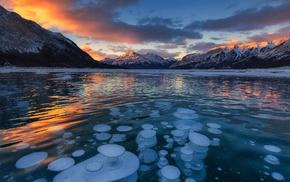 winter, lake, cold, water, Canada, landscape