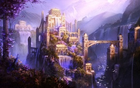 waterfall, artwork, city, mountain, fantasy art, castle