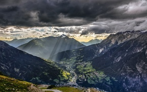 Alps, sunlight, mountain, villages, nature, Austria