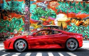 car, graffiti, Ferrari