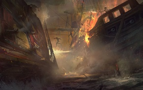 fantasy art, naval battles, artwork, pirates, ship