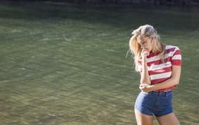 girl, girl outdoors, blonde, long hair, jean shorts, Alexis Ren