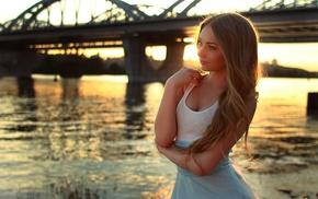 girl, sunset, bridge, looking away, blonde, river