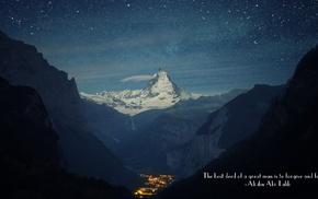 mountain, mountain pass, Ali ibn Abi Talib, Islam, stars, quote