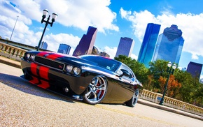 car, road, Dodge Challenger, building, Dodge, skyscraper
