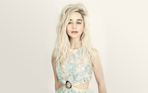 Emilia Clarke, blonde, simple background, celebrity, Game of Thrones, actress
