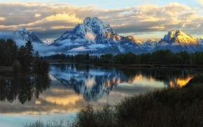 trees, Grand Teton National Park, clouds, mountain, reflection, snowy peak