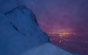 lights, cold, snow, mountain, nature, cityscape
