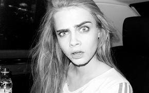 blonde, Cara Delevingne, model, monochrome