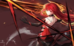anime, long hair, sword, redhead, Elsword, anime girls