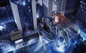long hair, androids, futuristic, mecha girls, ribbon, city