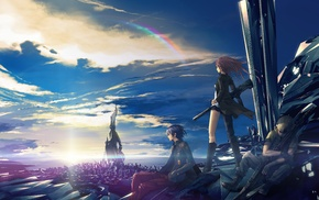 futuristic, anime, weapon, original characters, rainbows, clouds