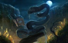 artwork, fairies, fantasy art, snake, moon