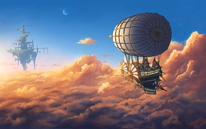 fantasy art, moon, aircraft, floating, sky, floating island