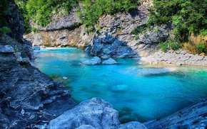 turquoise, water, river, rock, landscape, nature