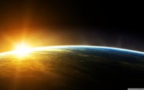 Earth, space, sunrise