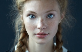 freckles, blonde, face, braids, portrait, looking at viewer