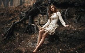 sitting, barefoot, model, dress, girl, looking down