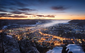 Germany, winter, mist, lights, nature, cityscape