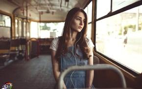 buses, girl, looking away, headphones, sitting
