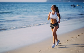 beach, sports bra, shorts, shoes, girl, sports