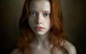 redhead, freckles, portrait, model, face, bare shoulders
