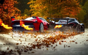 fire, car, Ferrari FXXK, race cars, McLaren P1