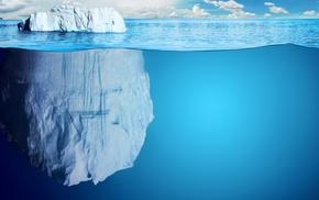 water, split view, sea, iceberg, ice