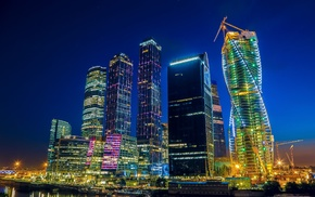 skyscraper, Moscow, night, cityscape, city, building