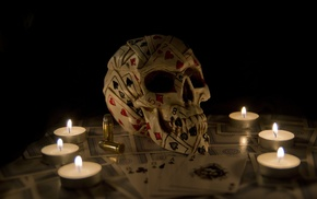 candles, playing cards, artwork, fantasy art, skull