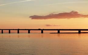 multiple display, bridge, sunset