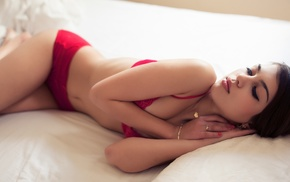 in bed, panties, lingerie, bra, lying down, red bras